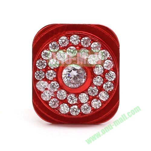 Sparkling Rhinestone Inlaid Home Button Key Replacement for iPhone 5 (Red)