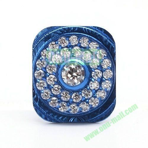 Sparkling Rhinestone Inlaid Home Button Key Replacement for iPhone 5 (Blue)