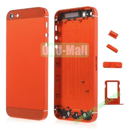Metal Full Housing Faceplates Replacement for iPhone 5 with Buttons SIM Card Tray (Orange)