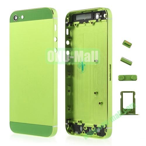 Metal Full Housing Faceplates Replacement for iPhone 5 with Buttons SIM Card Tray (Green)