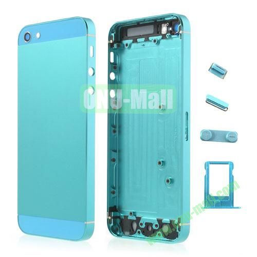 Metal Full Housing Faceplates Replacement for iPhone 5 with Buttons SIM Card Tray (Light Blue)