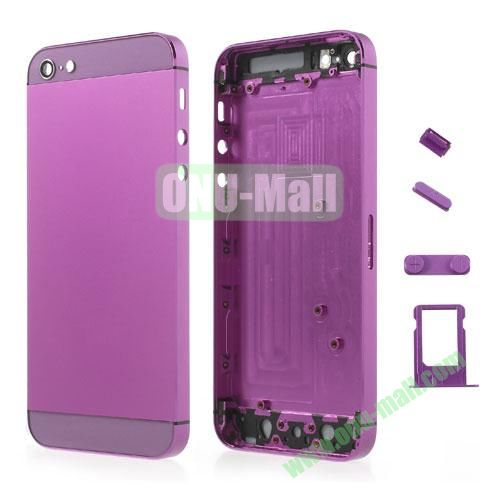 Metal Full Housing Faceplates Replacement for iPhone 5 with Buttons SIM Card Tray (Purple)