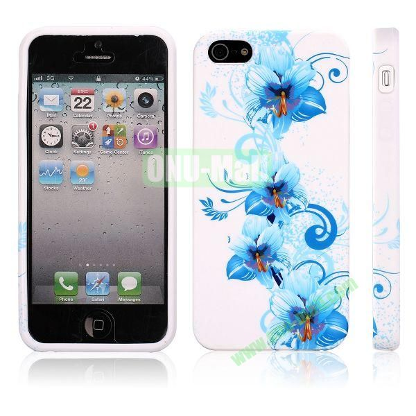 Various Pattern Soft TPU Case For iPhone 5 5S (Blue Flowers)