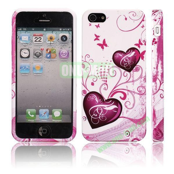 Various Pattern Soft TPU Case For iPhone 5 5S (Heart Pattern)