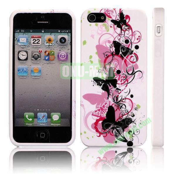 Various Pattern Soft TPU Case For iPhone 5 5S (Butterfly Love Flower)