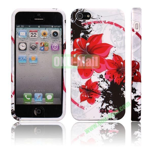 Various Pattern Soft TPU Case For iPhone 5 5S (Red and Black Flowers)