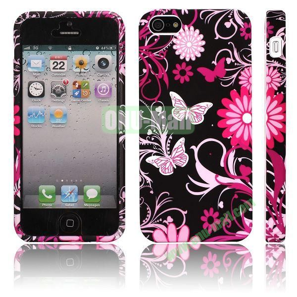Various Pattern Soft TPU Case For iPhone 5 5S (Pink Butterflies)