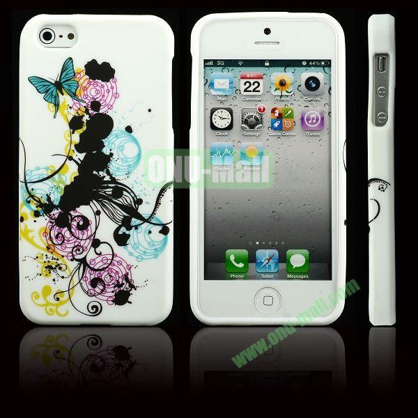 Elegant Pattern Soft TPU Case For iPhone 5 5S (Flowers and Butterfly)