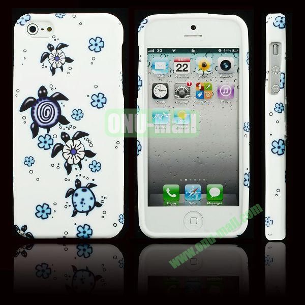 Elegant Pattern Soft TPU Case For iPhone 5 5S (Tortoise with Flowers)