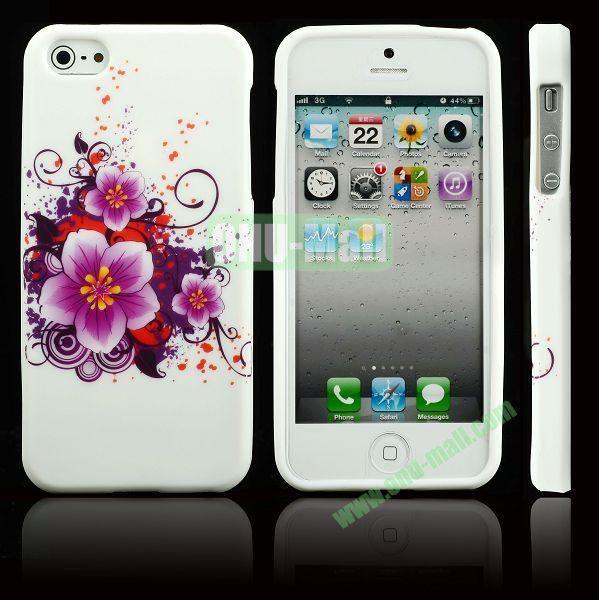Elegant Pattern Soft TPU Case For iPhone 5 5S (Purple Flowers)