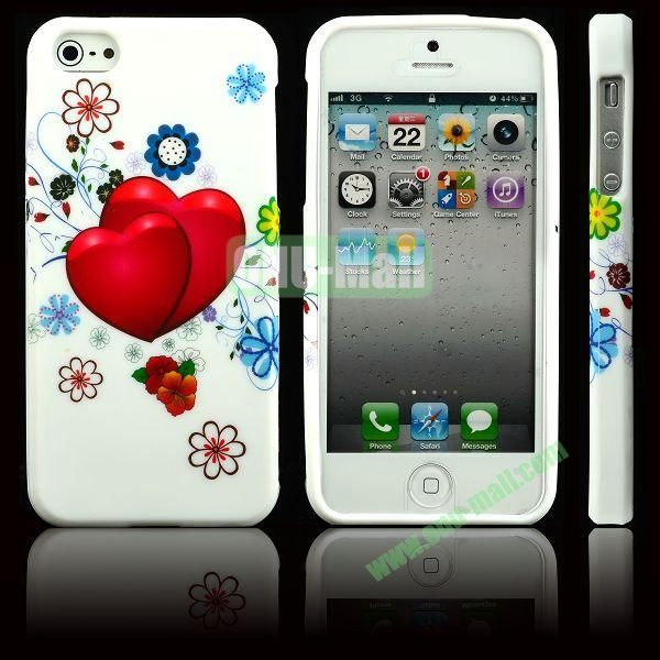 Elegant Pattern Soft TPU Case For iPhone 5 5S (Two Peach Hearts)