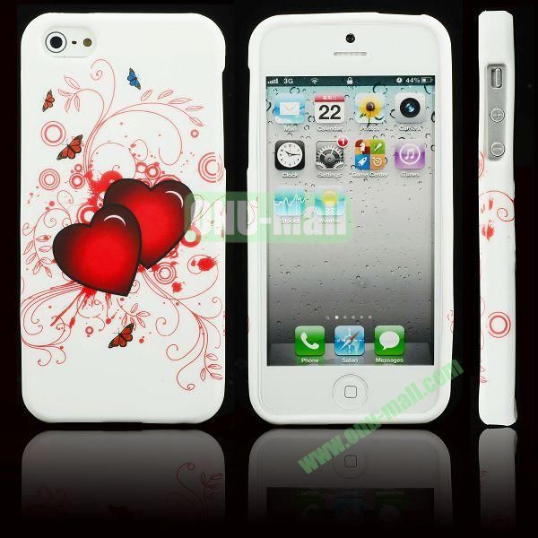 Elegant Pattern Soft TPU Case For iPhone 5 5S (Couple Peach Hearts)