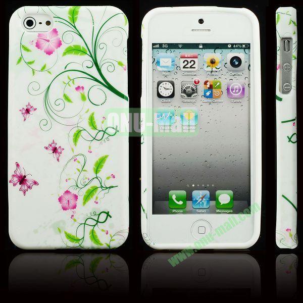 Elegant Pattern Soft TPU Case For iPhone 5 5S (Vine Flowerss)