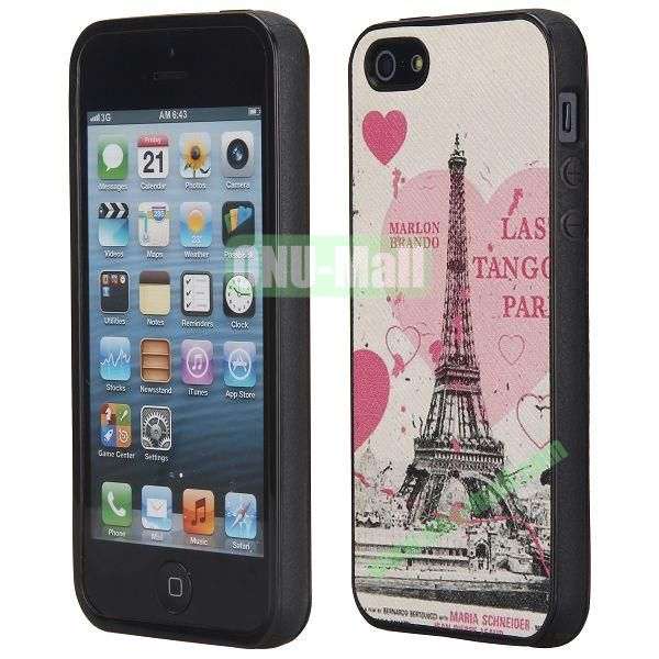 Cool Pattern Leather Coated Full Protective TPU Back Case for iPhone 5 5S (Eiffel Tower and Heart)