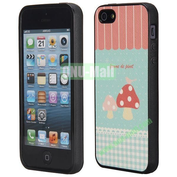 Cool Pattern Leather Coated Full Protective TPU Back Case for iPhone 5 5S (Mushrooms and Bird)
