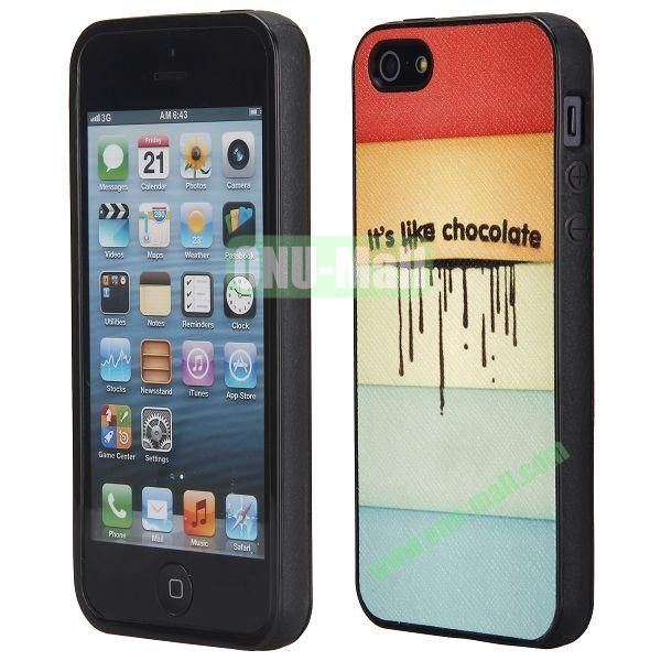 Cool Pattern Leather Coated Full Protective TPU Back Case for iPhone 5 5S (Chocolate)