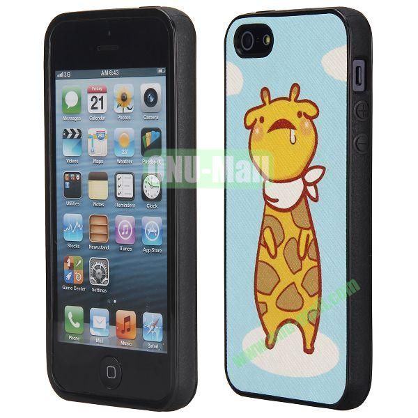 Cool Pattern Leather Coated Full Protective TPU Back Case for iPhone 5 5S (Cute Deer)