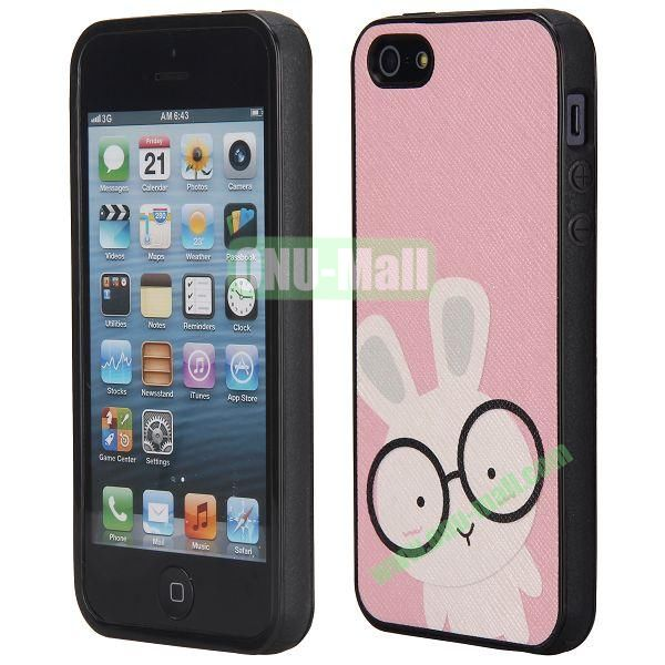 Cool Pattern Leather Coated Full Protective TPU Back Case for iPhone 5 5S (Cute Rabbit)