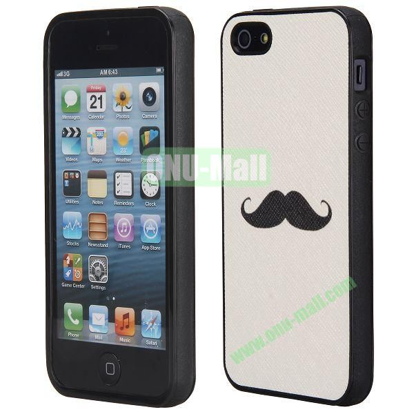 Cool Pattern Leather Coated Full Protective TPU Back Case for iPhone 5 5S (Beard)