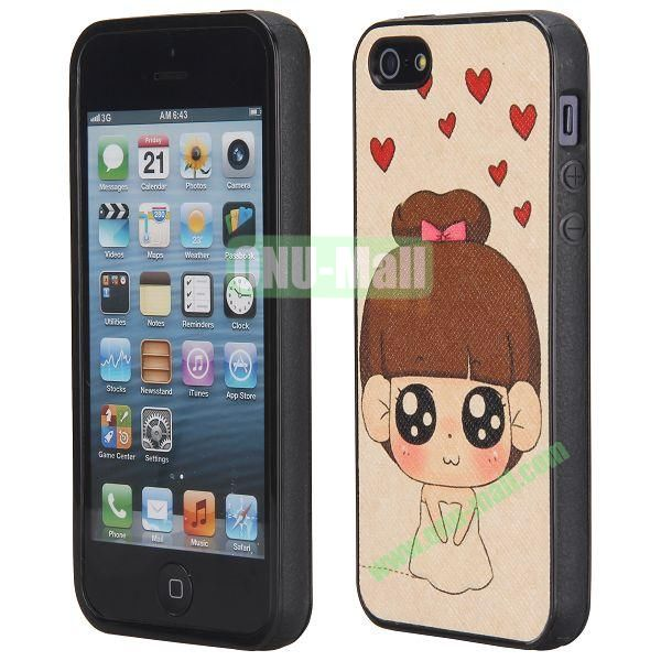 Cool Pattern Leather Coated Full Protective TPU Back Case for iPhone 5 5S (Lovely Girl)