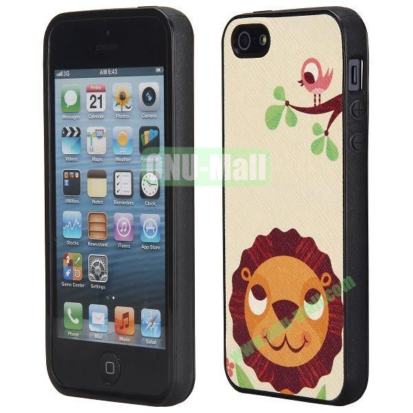 Cool Pattern Leather Coated Full Protective TPU Back Case for iPhone 5 5S (Cute Lion)