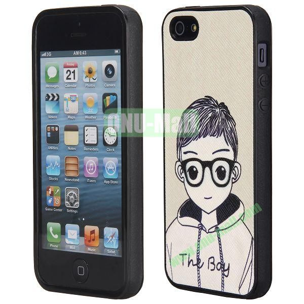 Cool Pattern Leather Coated Full Protective TPU Back Case for iPhone 5 5S (Cute Boy)