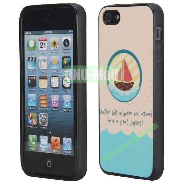 Cool Pattern Leather Coated Full Protective TPU Back Case for iPhone 5 5S (Ship)