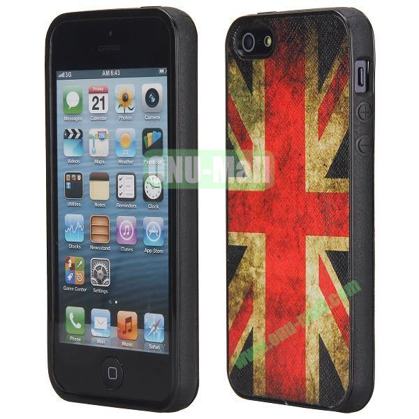 Cool Pattern Leather Coated Full Protective TPU Back Case for iPhone 5 5S (UK Flag)