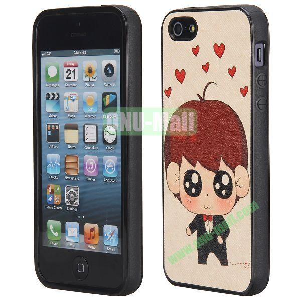 Cool Pattern Leather Coated Full Protective TPU Back Case for iPhone 5 5S (Little Boy)