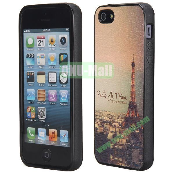Cool Pattern Leather Coated Full Protective TPU Back Case for iPhone 5 5S (Beautiful Eiffel Tower)
