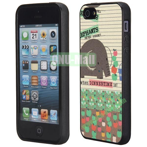 Cool Pattern Leather Coated Full Protective TPU Back Case for iPhone 5 5S (Elephant and Apples)