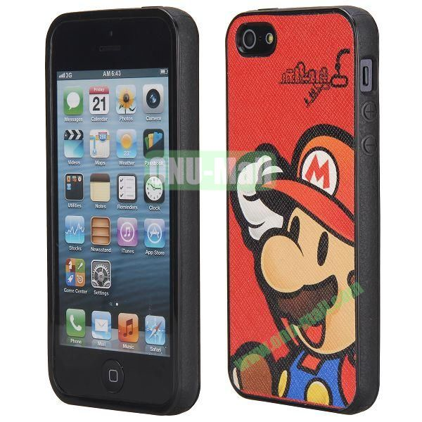 Cool Pattern Leather Coated Full Protective TPU Back Case for iPhone 5 5S (Super Mario)