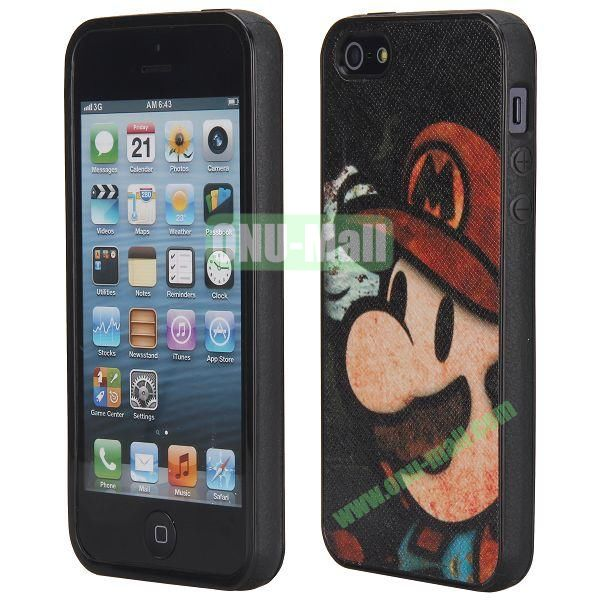 Cool Pattern Leather Coated Full Protective TPU Back Case for iPhone 5 5S (Mario)