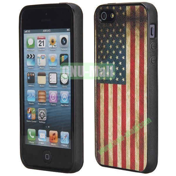 Cool Pattern Leather Coated Full Protective TPU Back Case for iPhone 5 5S (USA Flag)