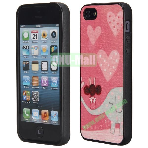 Cool Pattern Leather Coated Full Protective TPU Back Case for iPhone 5 5S (Loving Elephant)