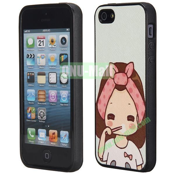 Cool Pattern Leather Coated Full Protective TPU Back Case for iPhone 5 5S (Good Morning Girl)