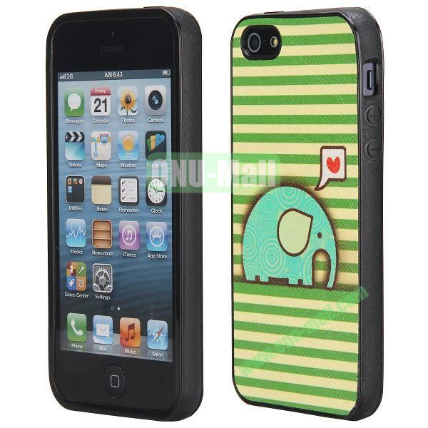 Cool Pattern Leather Coated Full Protective TPU Back Case for iPhone 5 5S (Sunshine Elephant)