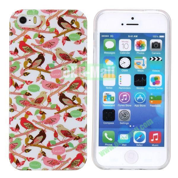 Fashion Image Design Smooth Texture TPU Case for iPhone 5 5S (Birds)