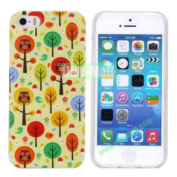Fashion Image Design Smooth Texture TPU Case for iPhone 5 5S (Owls in Trees)