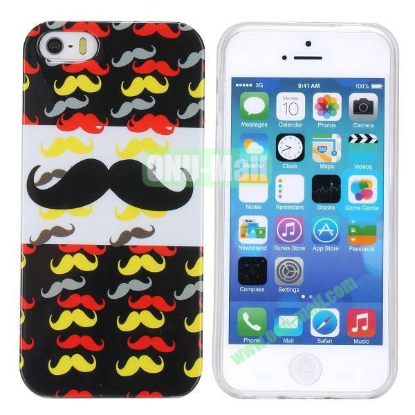 Fashion Image Design Smooth Texture TPU Case for iPhone 5 5S (Mustache)