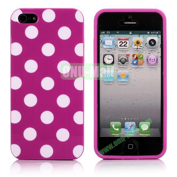 Polka Dots Flexible TPU Case For iPhone 5 5S (Rose+White)