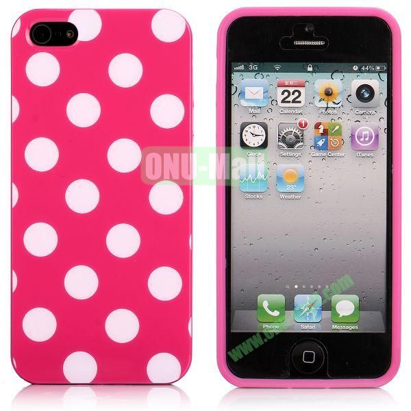 Polka Dots Flexible TPU Case For iPhone 5 5S (Hot Pink+White)