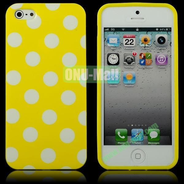 Polka Dots Flexible TPU Case For iPhone 5 5S (Yellow+White)