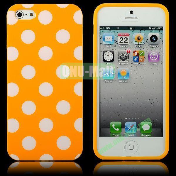 Polka Dots Flexible TPU Case For iPhone 5 5S (Orange+White)