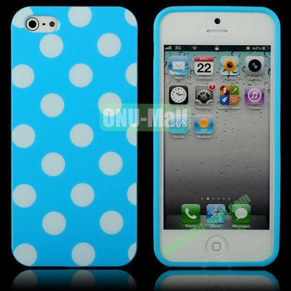 Polka Dots Flexible TPU Case For iPhone 5 5S (Blue+White)
