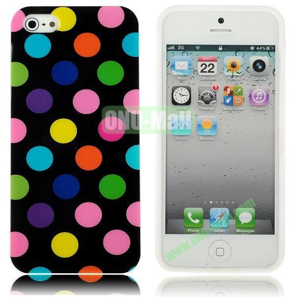 Polka Dots Flexible TPU Case For iPhone 5 5S (Black+Colorful)