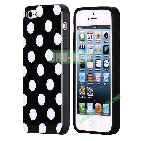 Polka Dots Flexible TPU Case For iPhone 5 5S (Black+White)