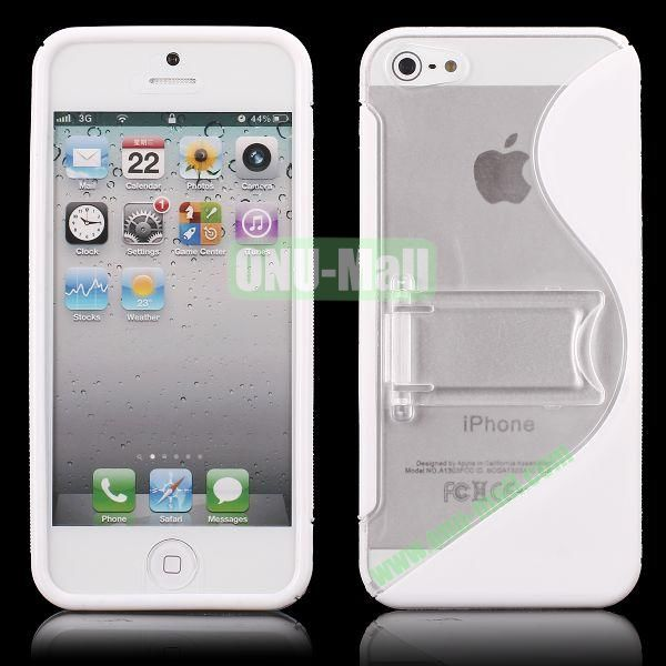 S-Line Hard PC+TPU Case For iPhone 5 5S With Kickstand (White)