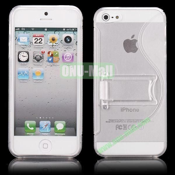 S-Line Hard PC+TPU Case For iPhone 5 5S With Kickstand (Transparent)