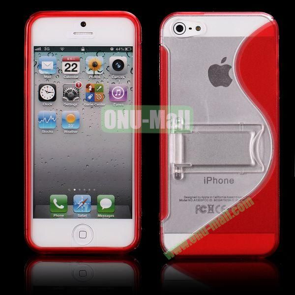 S-Line Hard PC+TPU Case For iPhone 5 5S With Kickstand (Red)